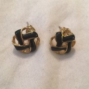 Vintage Pierced Earrings Black Gold Small